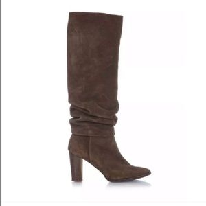 Manolo Blahnik brown suede slouch boots 37.5